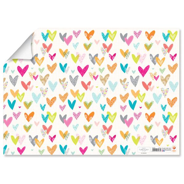 תמונה של 10 עטיפות ספרים עם למינציה דגם לבבות צבעוני